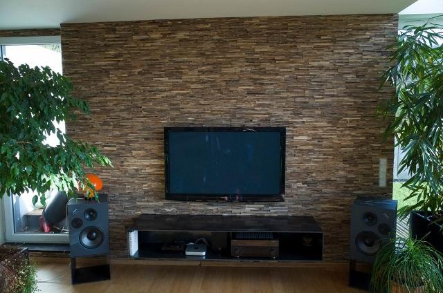 Wand Holz Verkleidung TV Wand