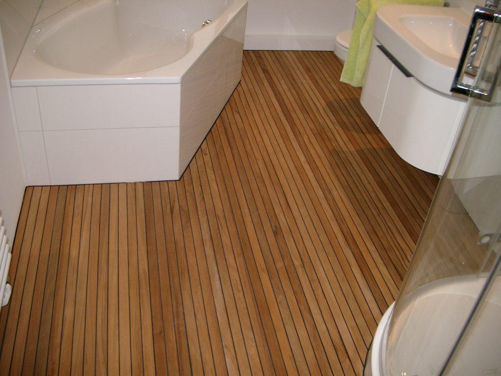 Teak Holz mit Gummifuge Badezimmer  BS-Holzdesign