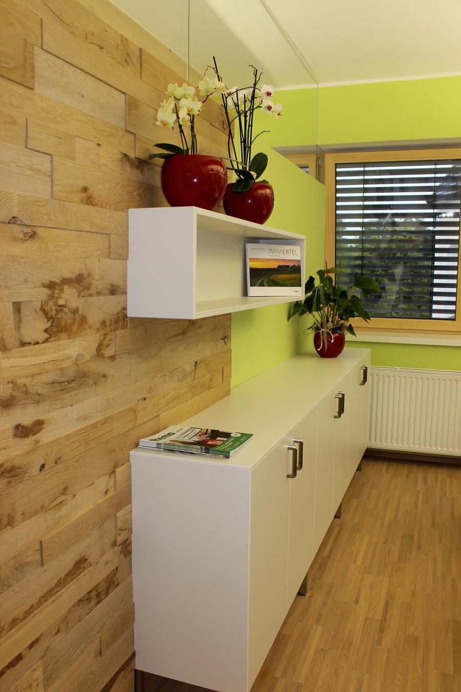 Holz Wandverkleidung Eiche Im Wohnzimmer Halbe Wand