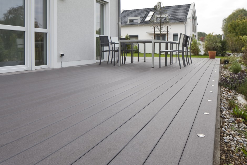 mydeck terrasse basalt mit beleuchtung bodenstrahlern bs. Black Bedroom Furniture Sets. Home Design Ideas
