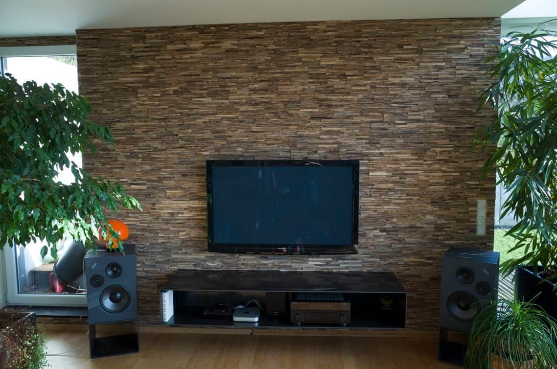 Holz Wandverkleidung Teak grau braun  BS-Holzdesign