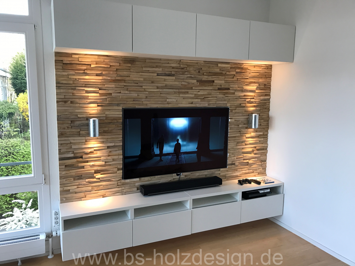 wandverkleidung holz hell schlicht bs holzdesign. Black Bedroom Furniture Sets. Home Design Ideas