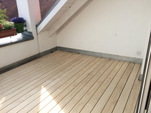 Holzboden Dachterrasse Clipsystem