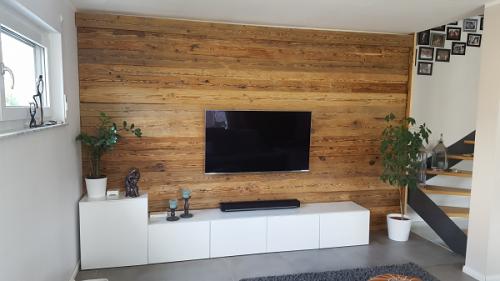 TV Wand Holzverkleidung Altholz (1)