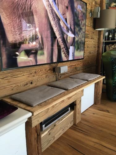 TV Wand Holzverkleidung Altholz (2)