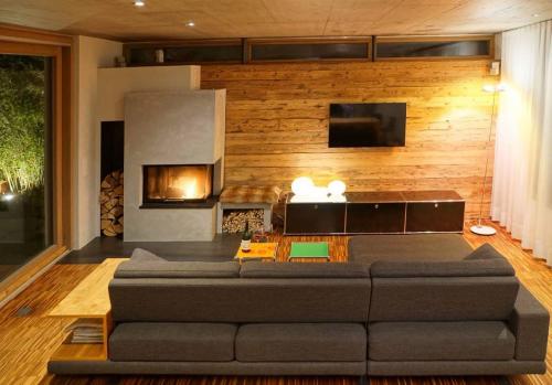 TV Wand Holzverkleidung Altholz (4)